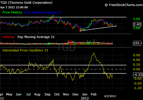 Timmins Gold TGD 1-year stock price chart
